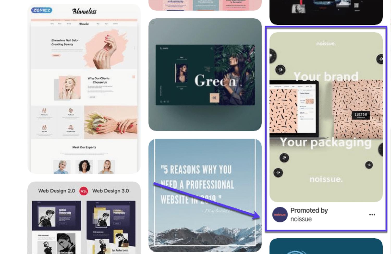 Um exemplo de anúncios Pinterest