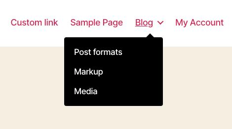 Exemplo de um menu dropdown no WordPress