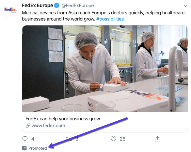 Um exemplo de um tweet promovido