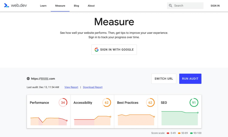 Google Webmasters Ferramenta de auditoria de medição