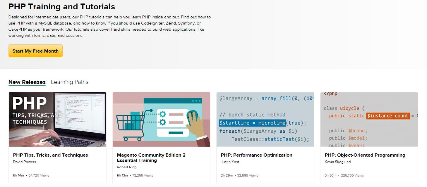 Tutoriais PHP sobre Lynda