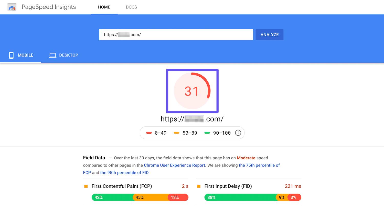 Página do GoogleSpeed Insights pontuação