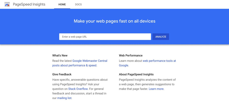 Página do GoogleSpeed Insights