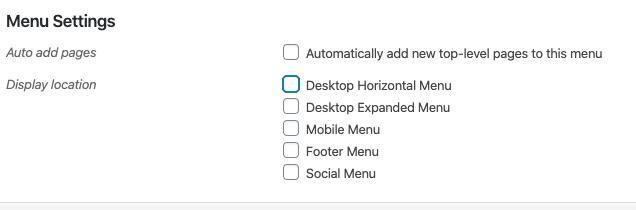 A seção Configurações do menu no editor