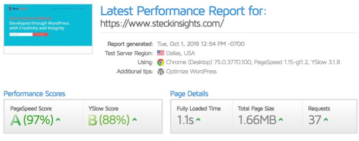 Steckinsights.com depois de se mudar para Kinsta
