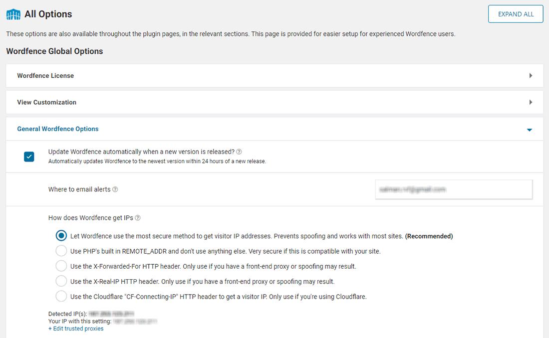 Ver todas as opções do Wordfence no painel Todas as Opções