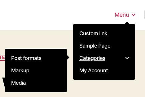 Um verdadeiro menu suspenso de navegação WordPress