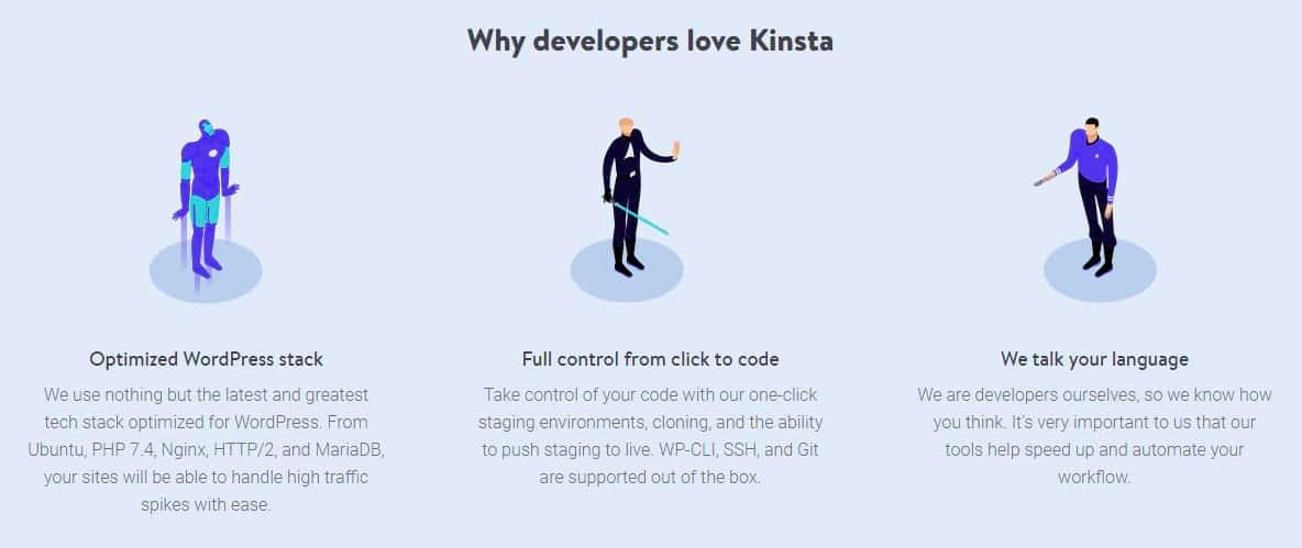Características do Kinsta developer