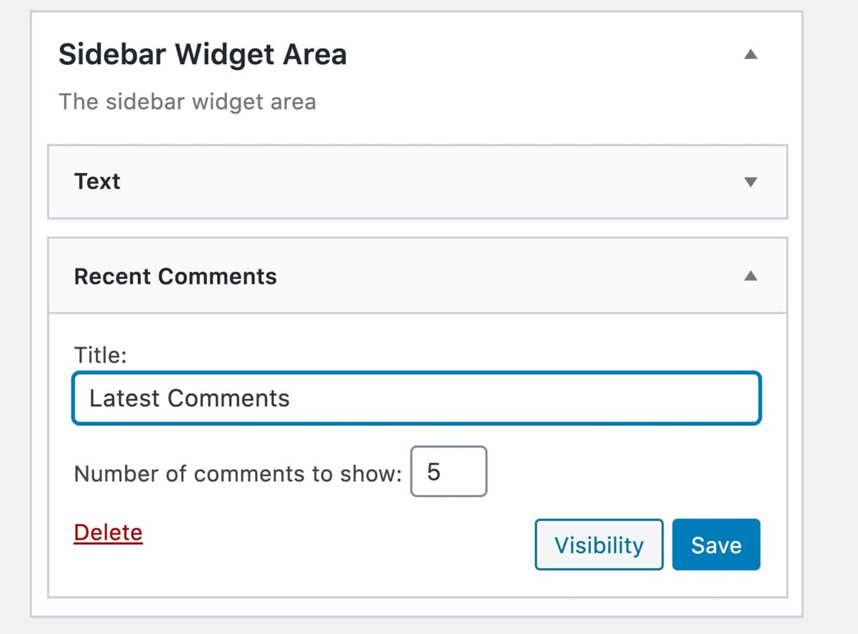 Comentários recentes widget