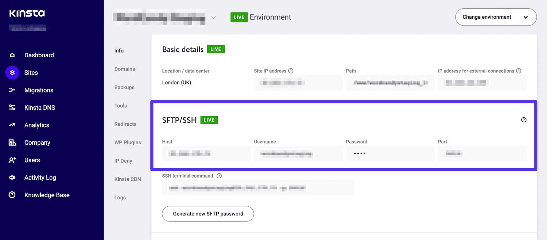 Credenciais de FTP no painel do MyKinsta