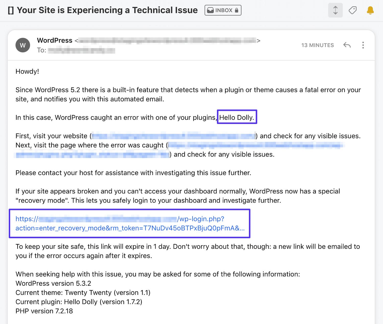 """E-mail de administração para o erro """"O site está com dificuldades técnicas""""."""