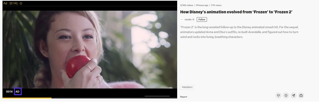Exemplo de anúncios de Dailymotion