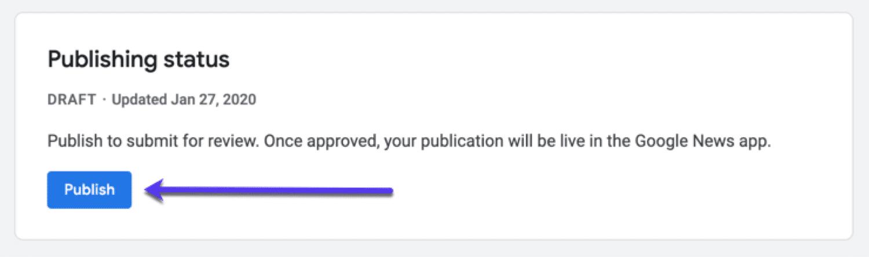 Status de publicação para sua publicação no Google News