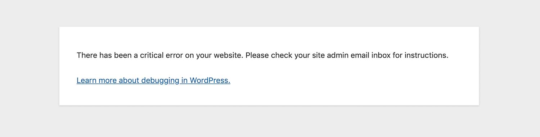 """""""Houve um erro crítico no seu site"""" na mensagem do backend."""