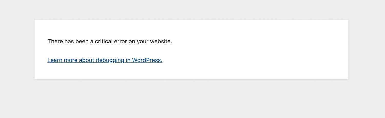 """""""Houve um erro crítico no seu site"""" na mensagem no frontend"""