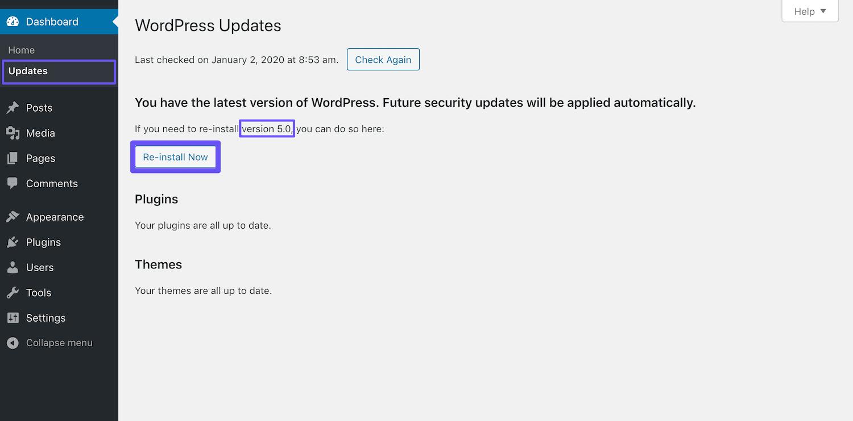 Re-instalando o WordPress 5.0