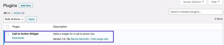 Tela de plugins Widget em plugins