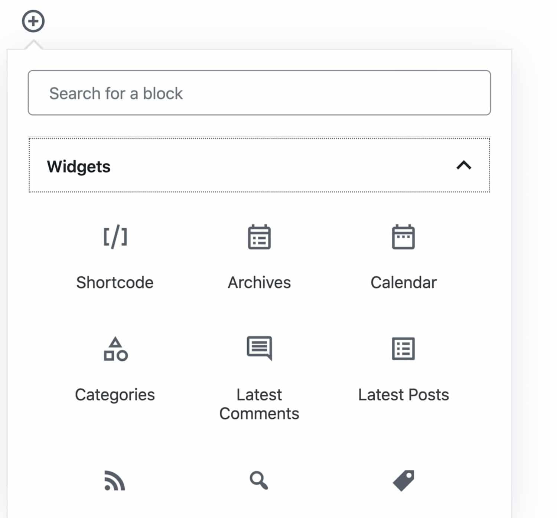 Tipo de bloco de widgets