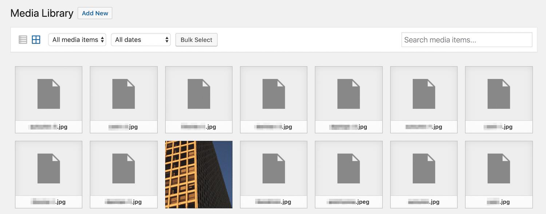 Arquivos de imagem quebrados na Biblioteca de Mídia