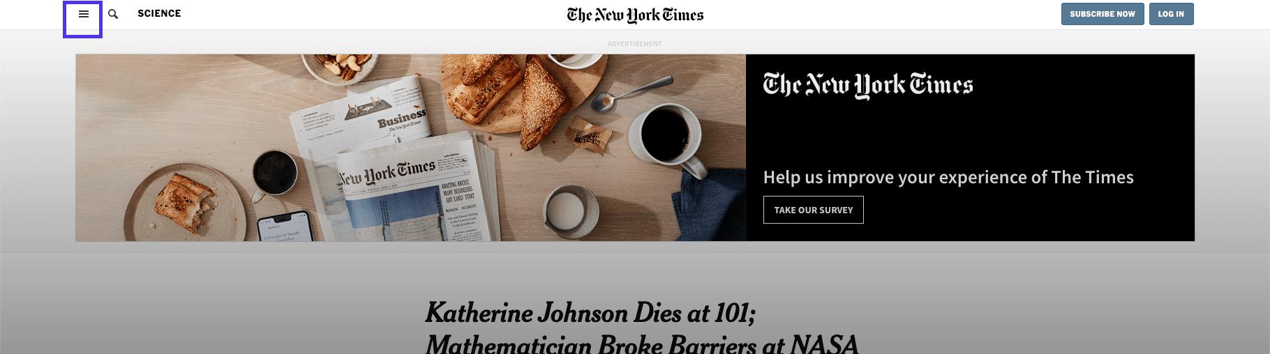 Artigo do NYT - menu de cabeçalho