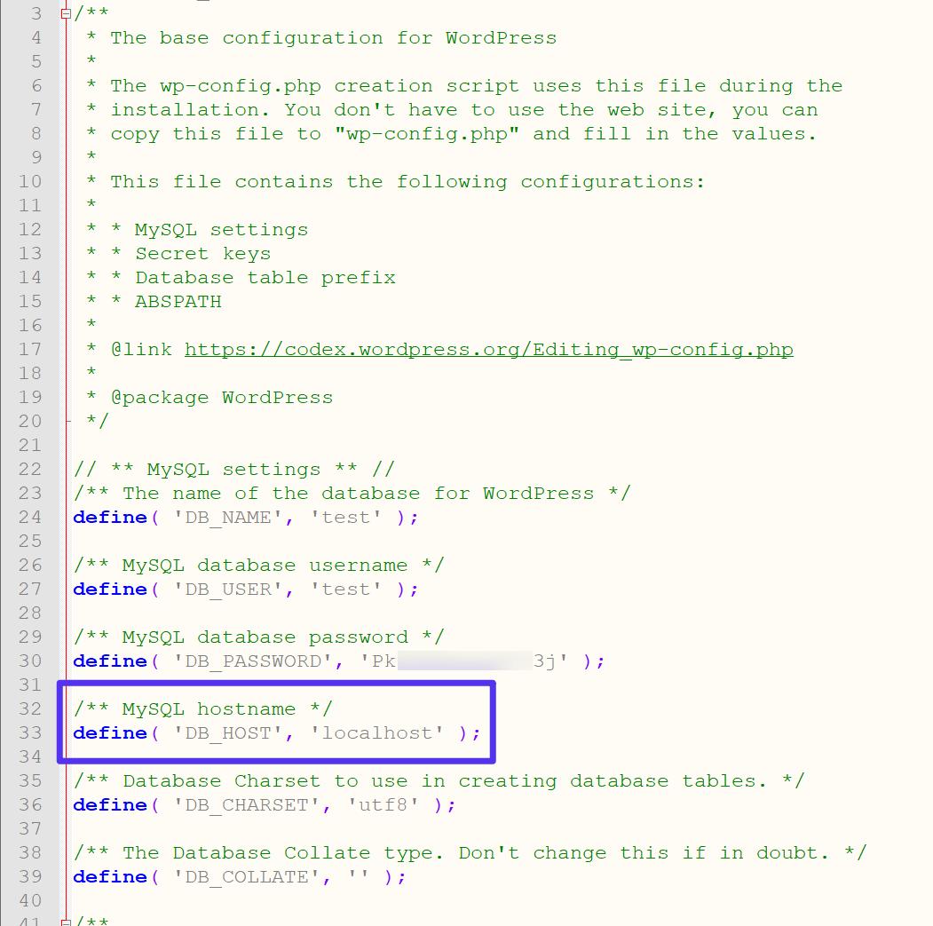 Como encontrar o hostname MySQL no WordPress