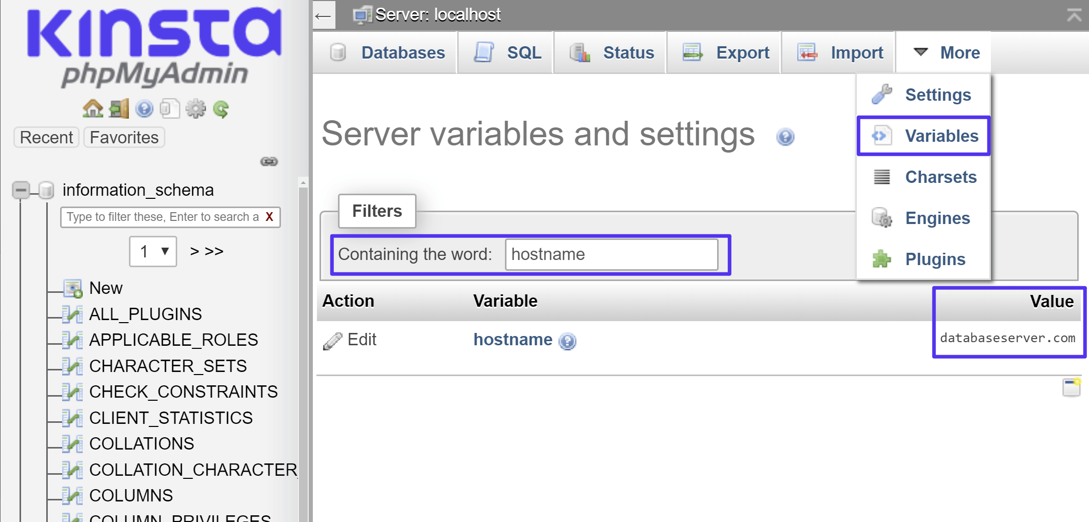Como encontrar a variável hostname no phpMyAdmin