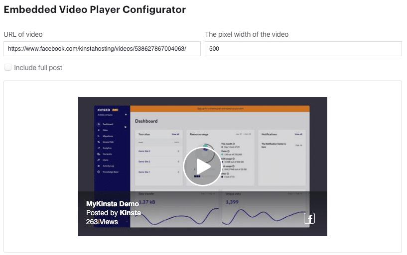 Configurador do reprodutor de vídeo do Facebook