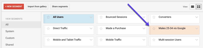 Encontrar e aplicar seus segmentos personalizados no Google Analytics