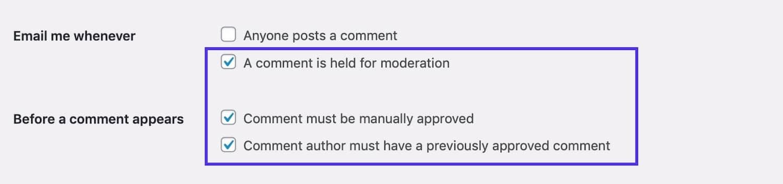 Habilitar moderação de comentários