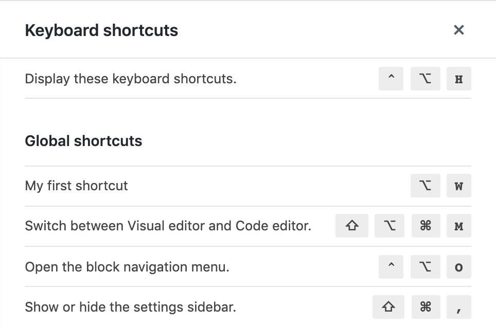 Foi adicionado um atalho personalizado do editor global de blocos