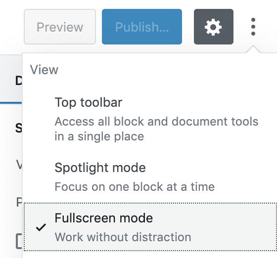 O modo tela cheia é ativado por padrão no WordPress 5.4
