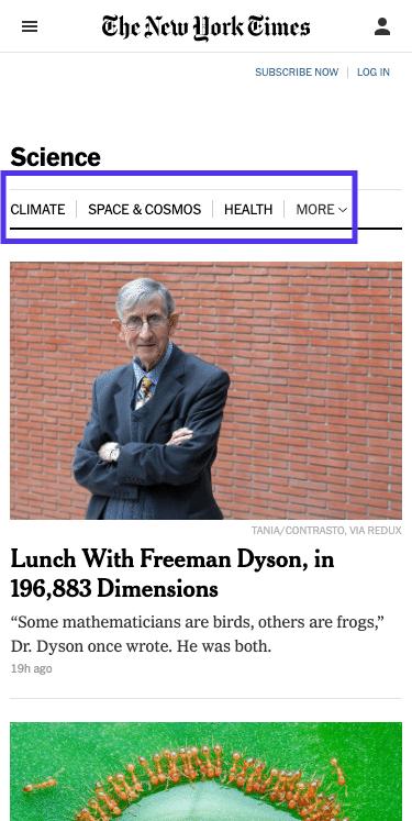 Página de ciência NYT - menu principal (móvel)