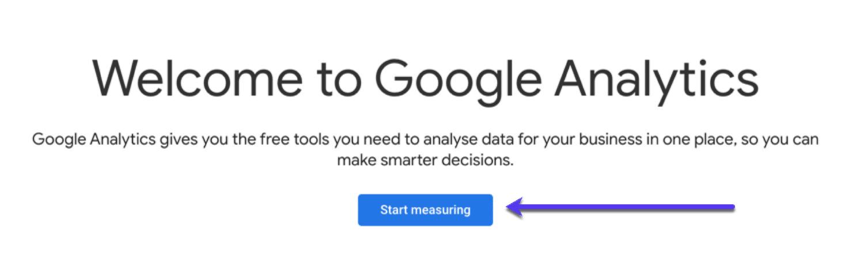 Página de configuração do Google Analytics