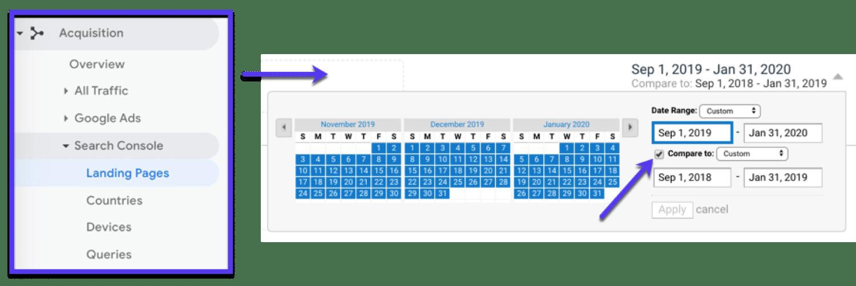 Veja o desempenho da página de desembarque em um período de tempo específico