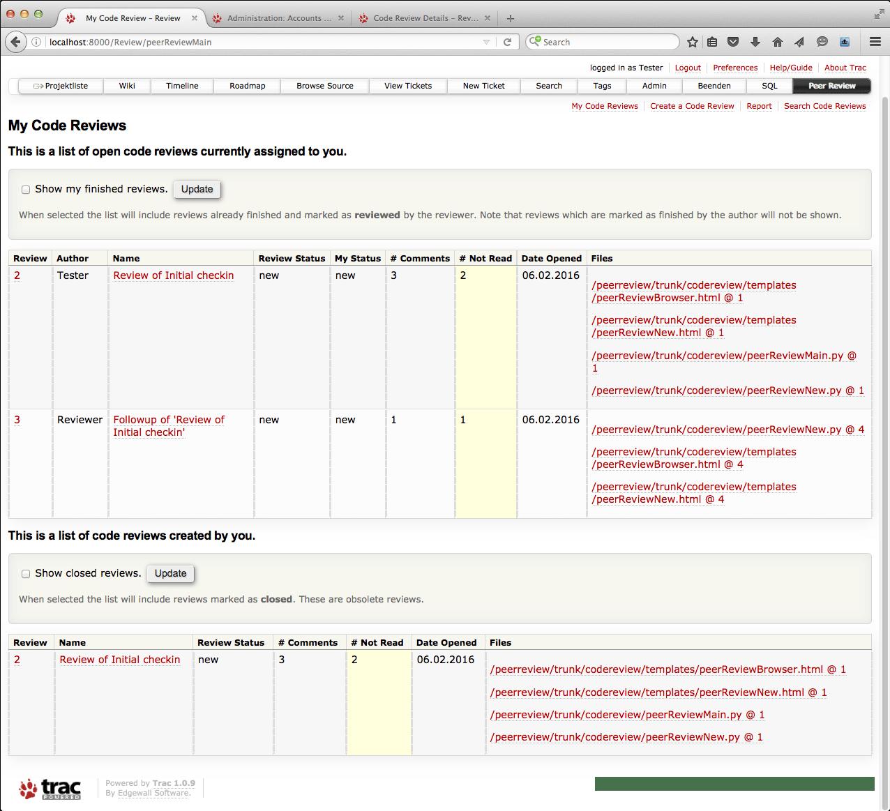 Resumo da Plugin de Revisão por Pares for Trac