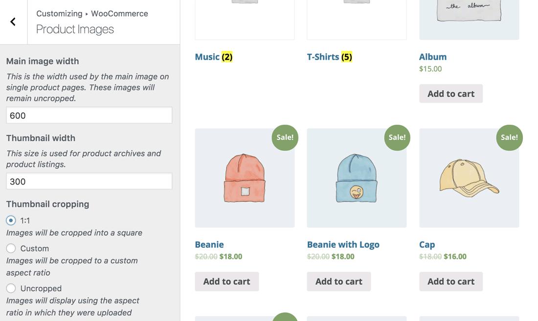 Personalização de imagens do produto do WooCommerce