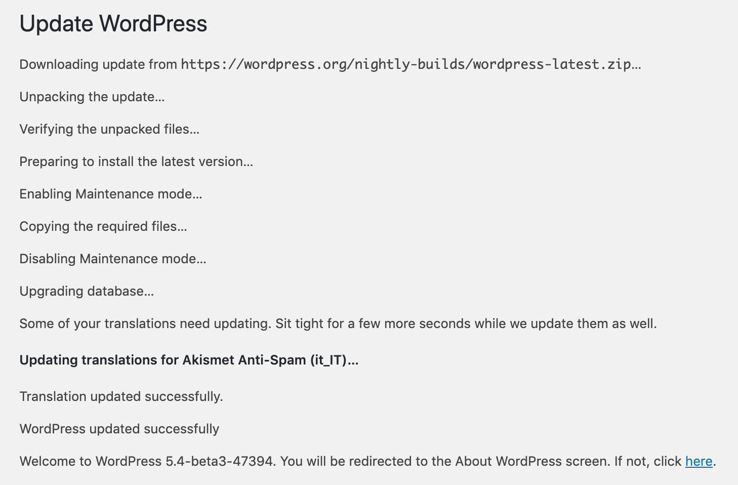 Progresso da atualização do WordPress