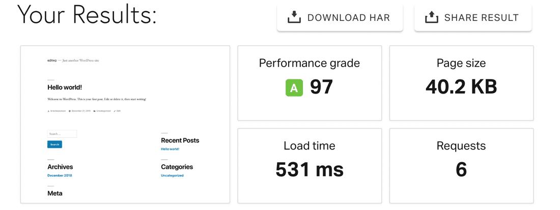 Um relatório de teste de velocidade do site