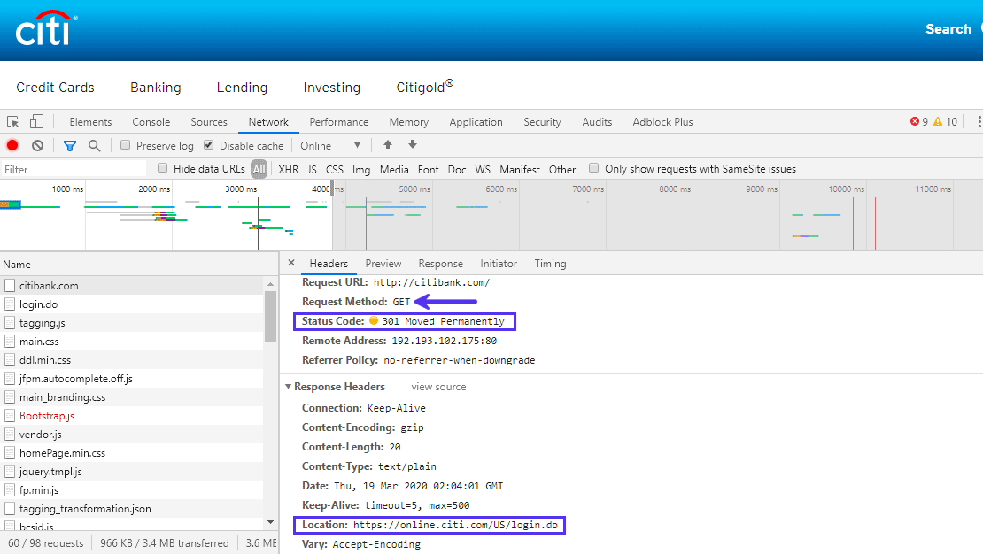 O cabeçalho de resposta de localização define a URL de redirecionamento