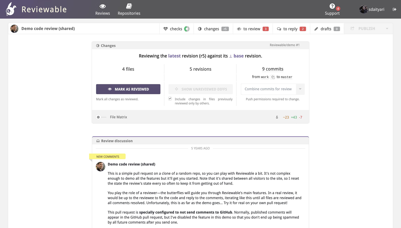 Resumo da Reviewable Code Review Tool