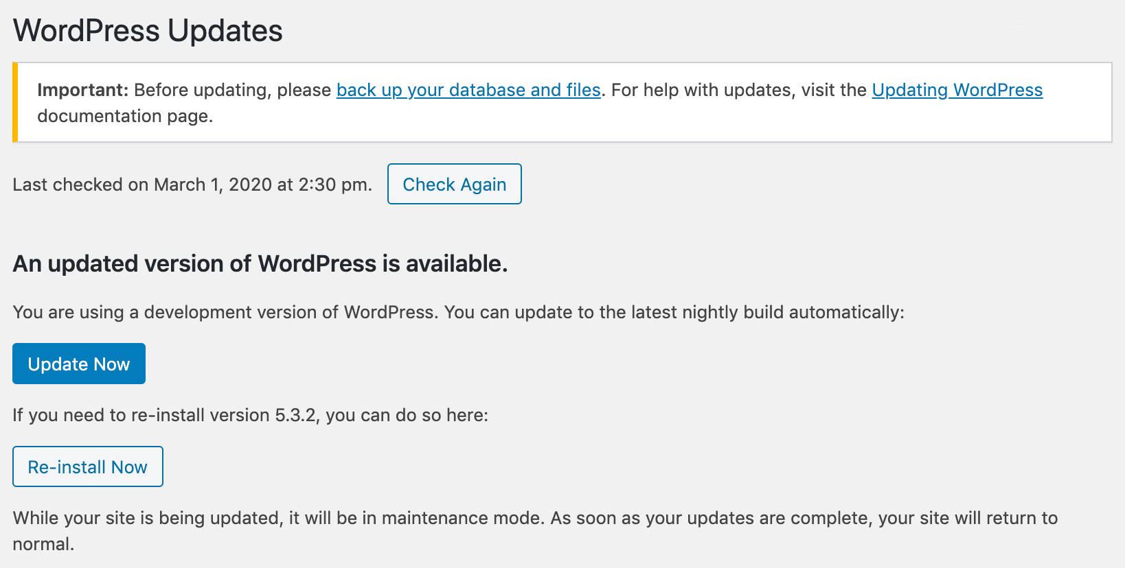 Tela de Atualizações do WordPress