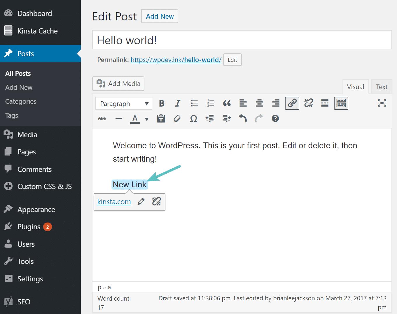 WordPress 4.8 limites do link