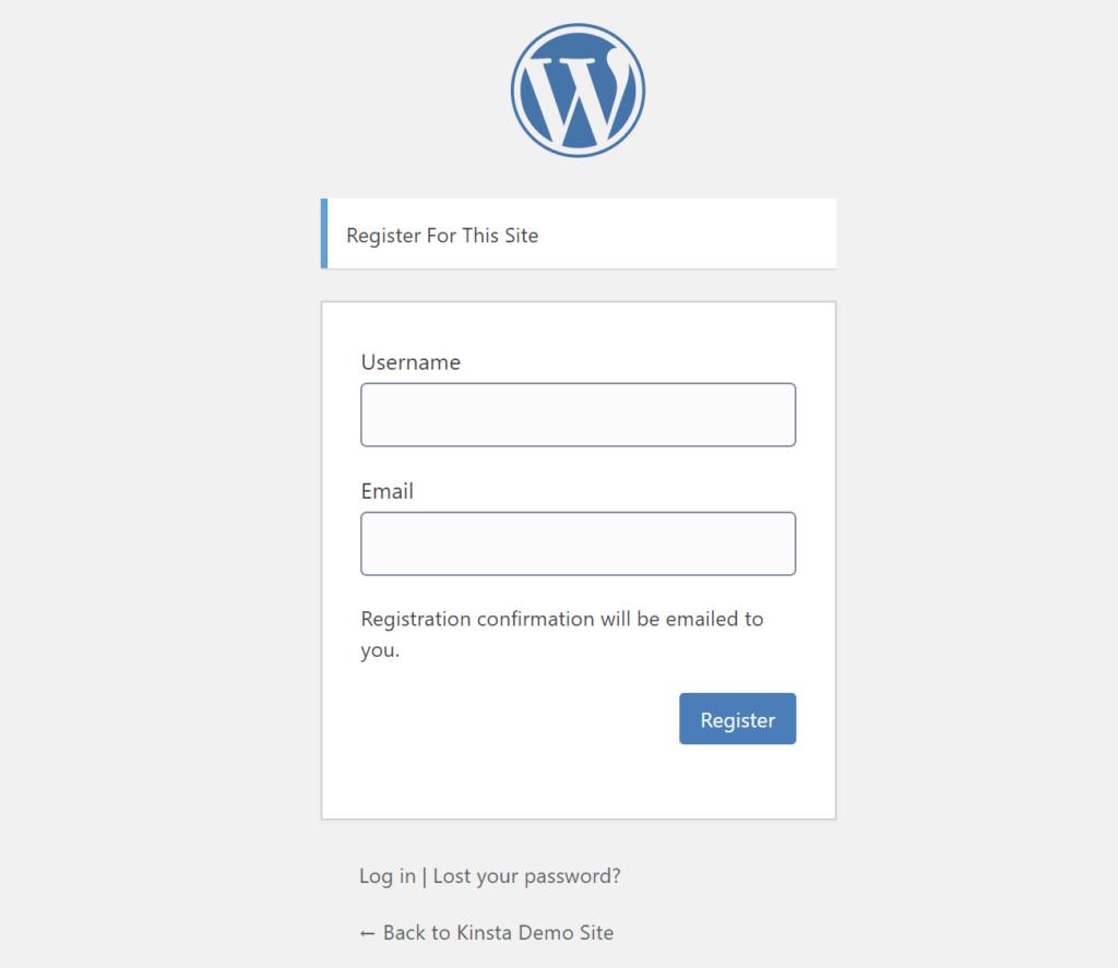 O formulário de registro padrão do WordPress