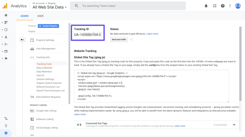 Acessando o Google Analytics tracking ID