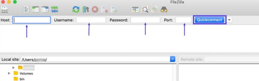 Digite as credenciais SFTP do seu servidor no seu cliente FTP.