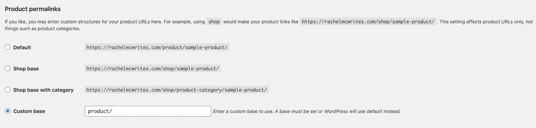 Configurações de permalinks de produtos