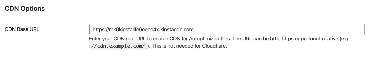 Configure as configurações do CDN no Autoptimize.