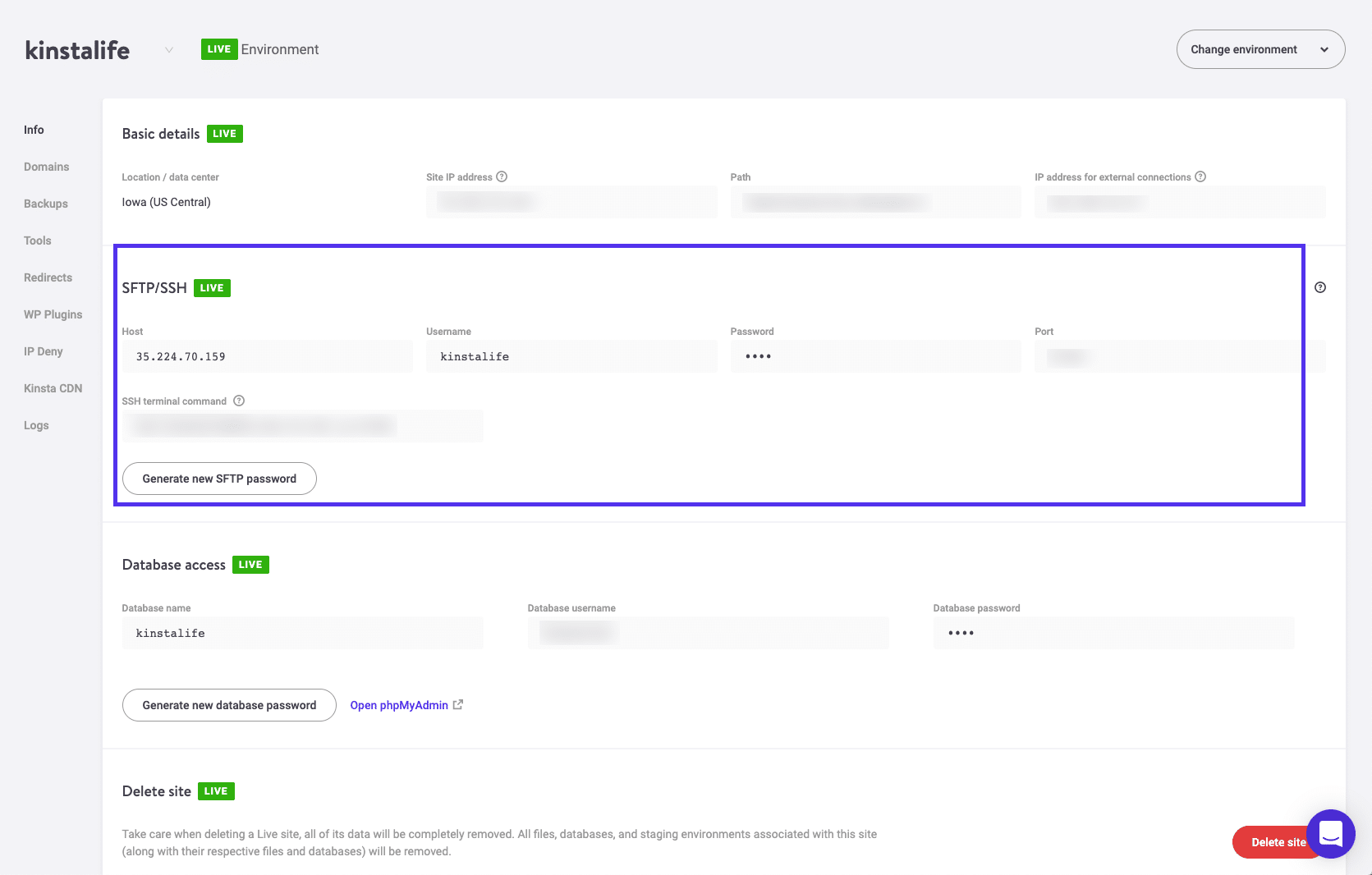 Credenciais de login no MyKinsta