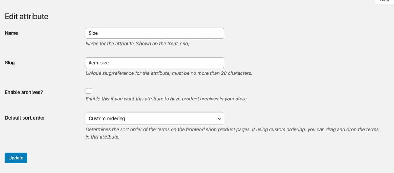Edição de caracóis de atributos de produtos
