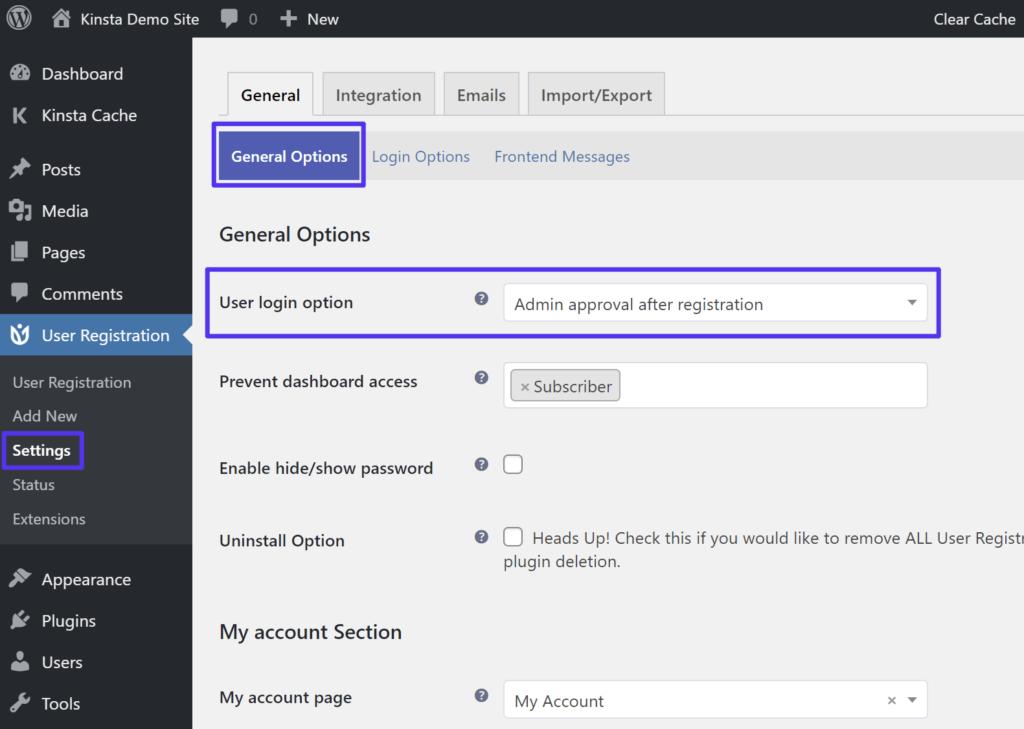 Habilitando a aprovação do administrador no plugin User Registration